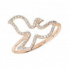 Кольцо в красном золоте Птица счастья с бриллиантами