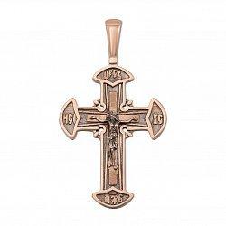 Крестик из красного золота с чернением 000133637