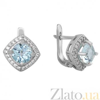Серебряные серьги Элис с голубым топазом и фианитами 000032408