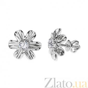 Серьги из белого золота с бриллиантами Весенний цветочек E0526/бел