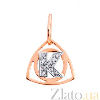 Золотой кулон Буква К в комбинированном цвете с фианитами EDM--П0179К