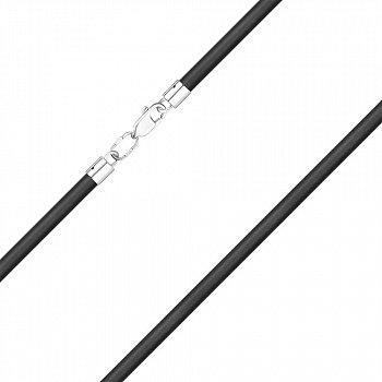 Каучуковий шнурок зі срібною застібкою 4 мм 000121506