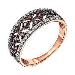 Кольцо из красного золота с фианитами и родированием 000137047