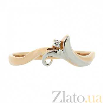 Золотое кольцо в красном цвете с бриллиантом Аурания 000021403