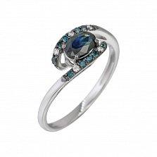 Золотое кольцо с сапфиром и бриллиантами Белая ночь