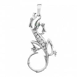Серебряная подвеска Юркая ящерица с фианитами 000060397