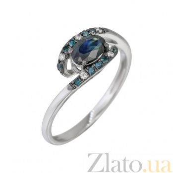 Золотое кольцо с сапфиром и бриллиантами Белая ночь 000032309