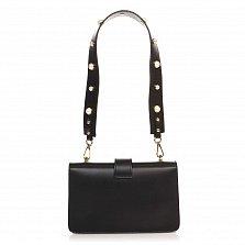 Кожаный клатч 1653 черного цвета с декоративной брошкой и ремнем через плечо