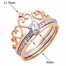 Кольцо в красном и белом золоте Королева любви с фианитами