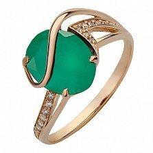 Золотое кольцо Грета с агатом и фианитами