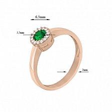 Золотое кольцо Звезда с изумрудом и бриллиантами