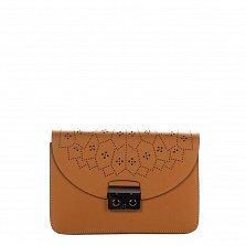 Кожаный клатч Genuine Leather 1728 коньячного цвета с перфорированным узором на клапане