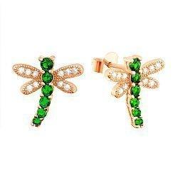Серебряные серьги с позолотой и зеленым цирконием Стрекозы 000039807