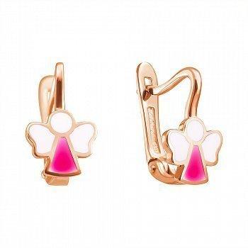 Золоті сережки Янголята в червоному кольорі з білою та рожевою емаллю