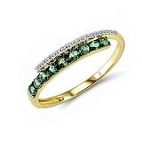 Кольцо из желтого золота Алекса с бриллиантами и изумрудами