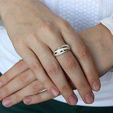 Серебряное кольцо с золотыми вставками и цирконием Алея