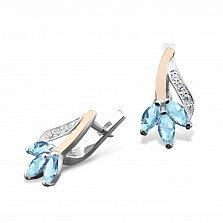 Серебряные серьги Весенний цветок с золотыми накладками и голубыми и белыми фианитами