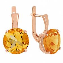 Золотые сережки с цитринами Диодора