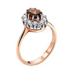 Кольцо в комбинированном цвете золота с раухтопазом и фианитами 000134434