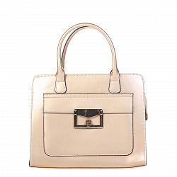Кожаная деловая сумка Genuine Leather 8828 золотистого цвета на молнии, с металлическими ножками