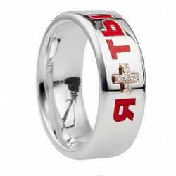 Серебряное кольцо с цветной эмалью Я+Ты