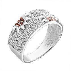 Серебряное кольцо с коньячными и белыми фианитами 000126560