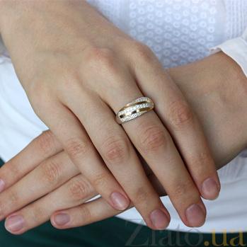 Серебряное кольцо с золотыми вставками и цирконием Алея BGS--460к