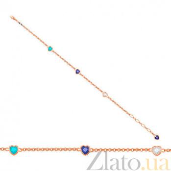 Золотой браслет Флирт с разноцветными фианитами VLT--Н553