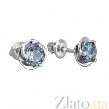 Серебряные пуссеты с лондон топазом Подарок 2087/9 топаз4