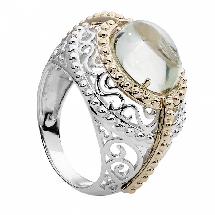 Серебряное кольцо с золотой вставкой и кварцем Иоланта 000030044
