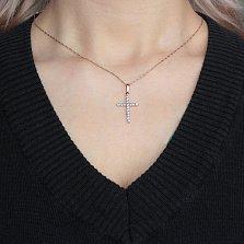Золотой крестик Мадена с голубыми топазами