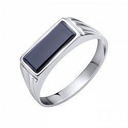 Серебряный перстень-печатка Орест с черным ониксом и фактурной шинкой