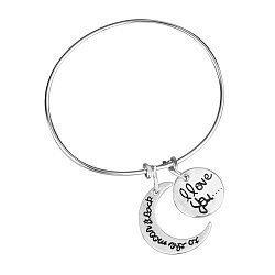Серебряный браслет I love you с подвесками, месяцем и надписью 000114942