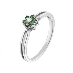 Золотое кольцо Маргаритка в белом цвете с зелёными топазами и бриллиантом