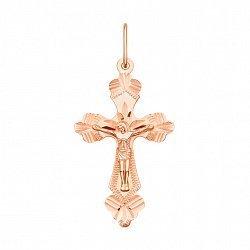 Золотой крестик Образ Спасителя в красном цвете с алмазной гранью