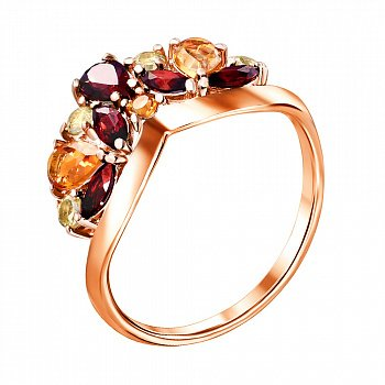 Кольцо из красного золота с гранатами, хризолитами и цитринами 000122930