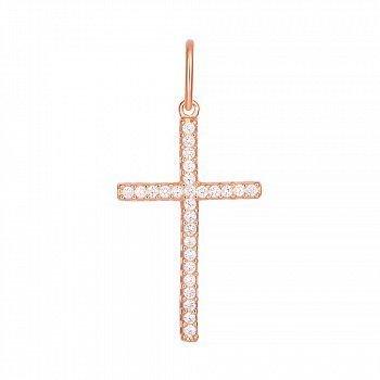 Серебряный крестик Сияние небес с фианитами и позолотой 000028691