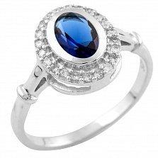 Кольцо из серебра Николина с синтезированным сапфиром и фианитами