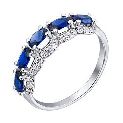 Серебряное кольцо с гидротермальными сапфирами и фианитами 000140033