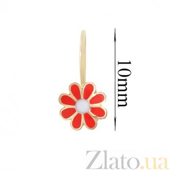 Золотые серьги с цветной эмалью Цветочек LEL--90126