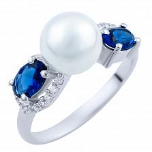 Серебряное кольцо Аделита с сапфирами и фианитами