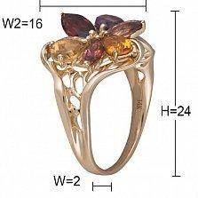 Золотое кольцо с аметистом, гранатом, цитрином, турмалинами и бриллиантами Сюзанна