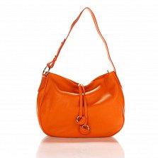 Кожаная сумка на каждый день Genuine Leather 8934 оранжевого цвета с декоративными подвесками