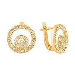 Золотые серьги Магические круги с фианитами 000057006