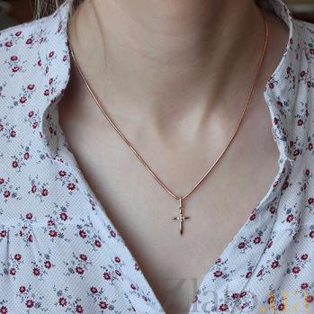 Крестик из красного золота Мария с фианитами SVA--3100840101/Фианит/Цирконий
