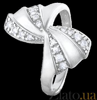 Серебряное кольцо с фианитами Бантик 000025787