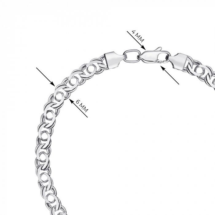 Серебряный браслет в плетении арабский бисмарк 6 мм 000121513 000121513