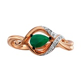 Золотое кольцо с изумрудом и бриллиантами Лаура