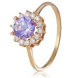 Золотое кольцо с аметистом и фианитами Франни
