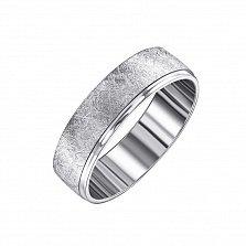 Обручальное кольцо серебряное Юнона с эффектом царапин